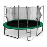 Klarfit Rocketboy 430 Outdoor Trampolin großes Gartentrampolin mit Sicherheitsnetz und Leiter für Kinder (430 cm Durchmesser, inkl. Leiter Netz und Regenschutz, gepolsterten Stangen, bis max. 150kg) grün